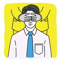man-being-covered-eyes-vector-id987343648